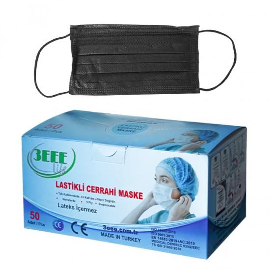 Кутия от 50 броя черни медицински маски 3EEE