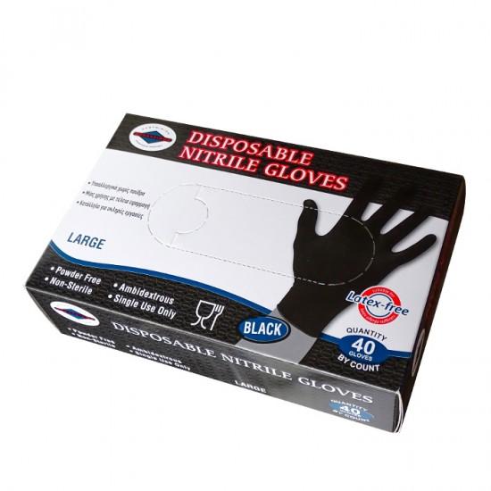 Еднократни нитрилови ръкавици в черен цвят, 40 броя