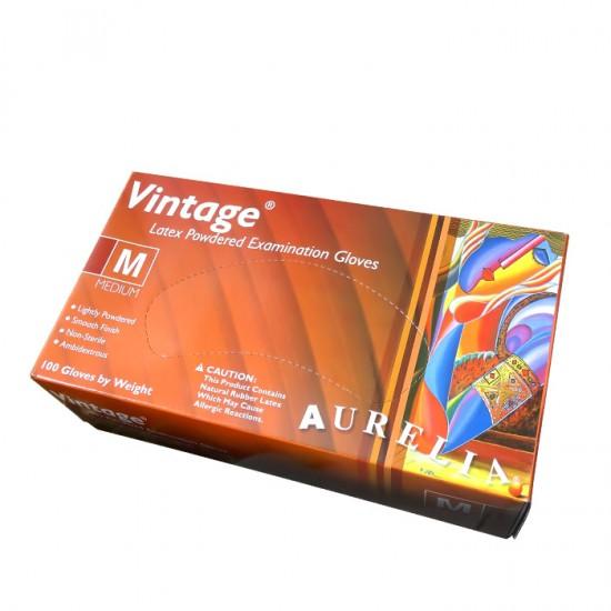 Aurelia vintage еднократни ръкавици от латекс в кутия от 100 броя