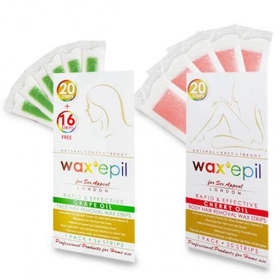 Промо комплект депилиращи ленти за лице и тяло WaxEpil